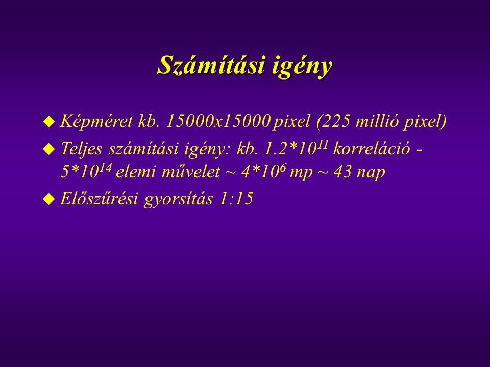 Számítási igény u Képméret kb. 15000x15000 pixel (225 millió pixel) u Teljes számítási igény: kb. 1.2*10 11 korreláció - 5*10 14 elemi művelet ~ 4*10