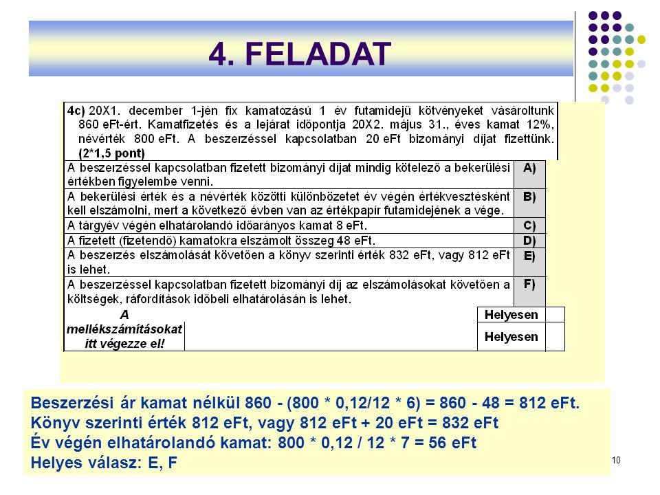 10 Beszerzési ár kamat nélkül 860 ‑ (800 * 0,12/12 * 6) = 860 ‑ 48 = 812 eFt. Könyv szerinti érték 812 eFt, vagy 812 eFt + 20 eFt = 832 eFt Év végén e