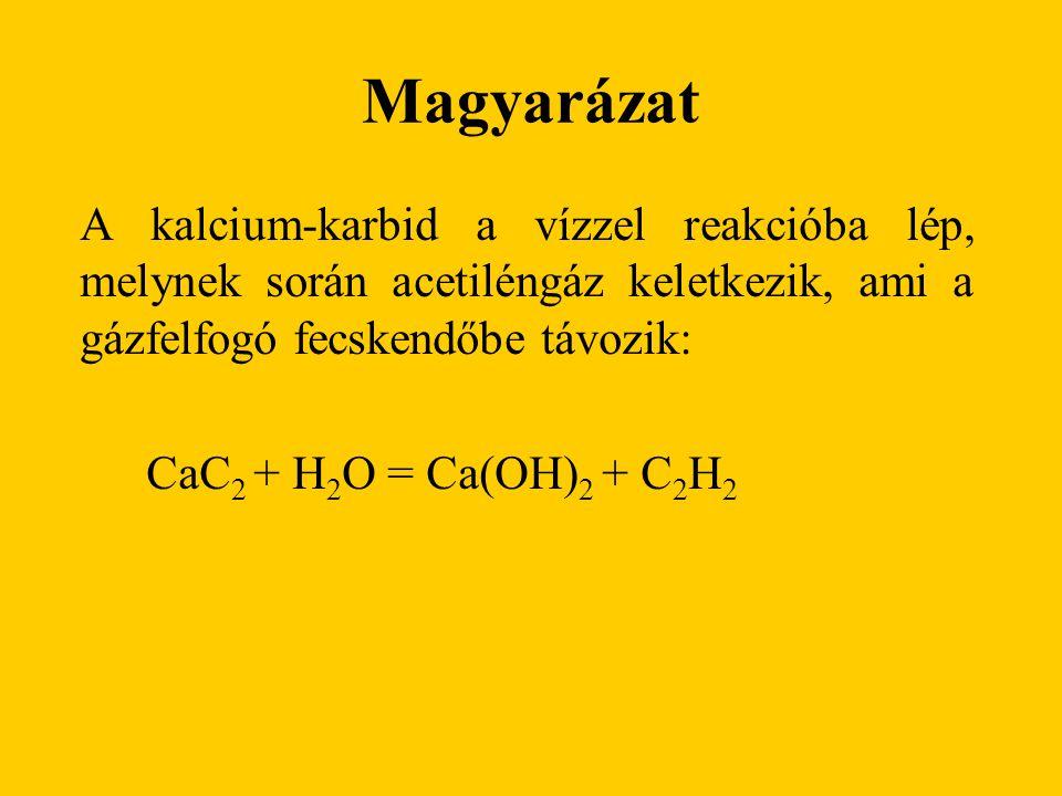 Magyarázat A kalcium-karbid a vízzel reakcióba lép, melynek során acetiléngáz keletkezik, ami a gázfelfogó fecskendőbe távozik: CaC 2 + H 2 O = Ca(OH)