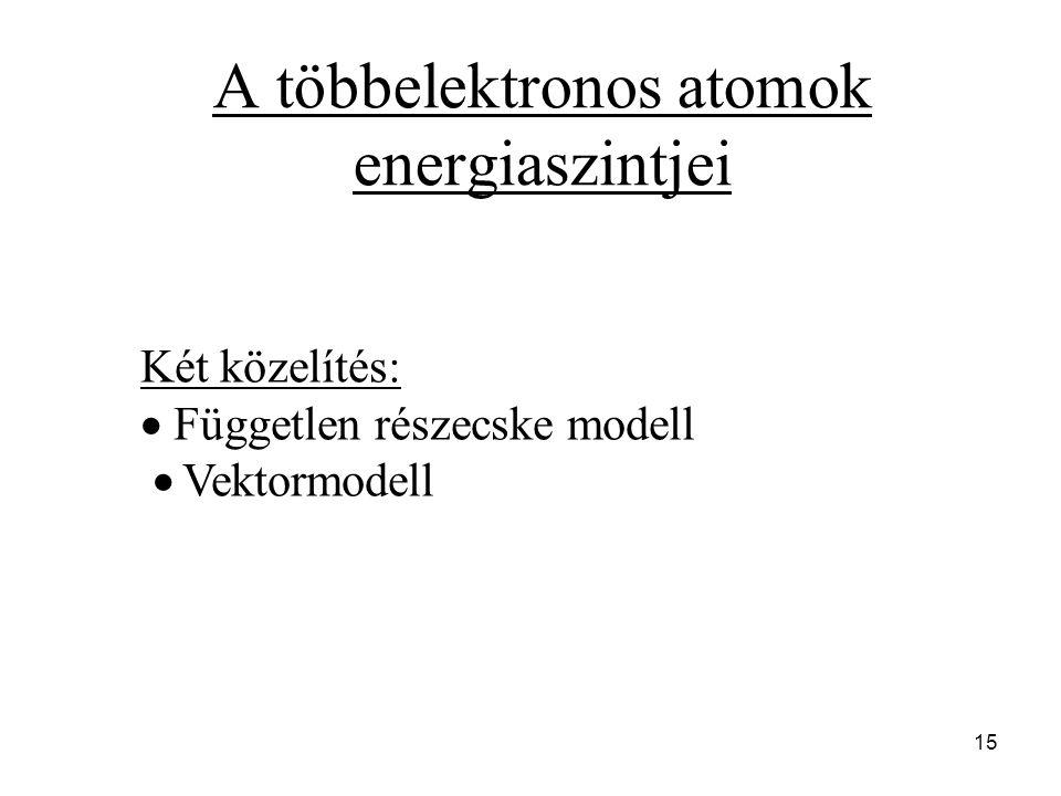 A többelektronos atomok energiaszintjei Két közelítés:  Független részecske modell  Vektormodell 15