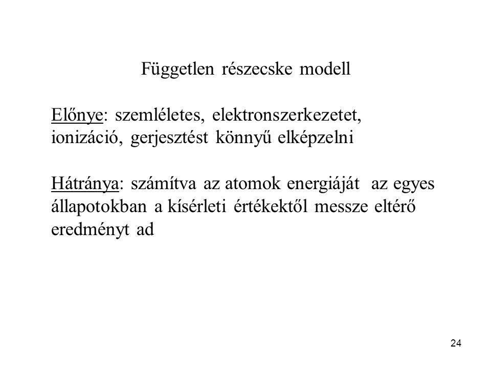 24 Független részecske modell Előnye: szemléletes, elektronszerkezetet, ionizáció, gerjesztést könnyű elképzelni Hátránya: számítva az atomok energiáját az egyes állapotokban a kísérleti értékektől messze eltérő eredményt ad