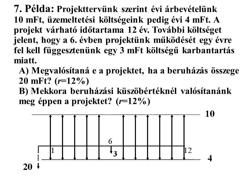 7. Példa: Projekttervünk szerint évi árbevételünk 10 mFt, üzemeltetési költségeink pedig évi 4 mFt. A projekt várható időtartama 12 év. További költsé