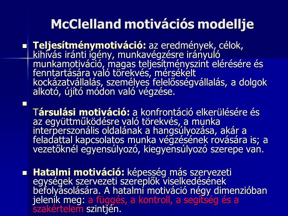 McClelland motivációs modellje  Teljesítménymotiváció: az eredmények, célok, kihívás iránti igény, munkavégzésre irányuló munkamotiváció, magas telje