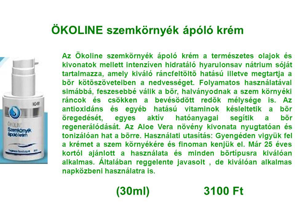 ÖKOLINE szemkörnyék ápóló krém Az Ökoline szemkörnyék ápoló krém a természetes olajok és kivonatok mellett intenzíven hidratáló hyarulonsav nátrium só