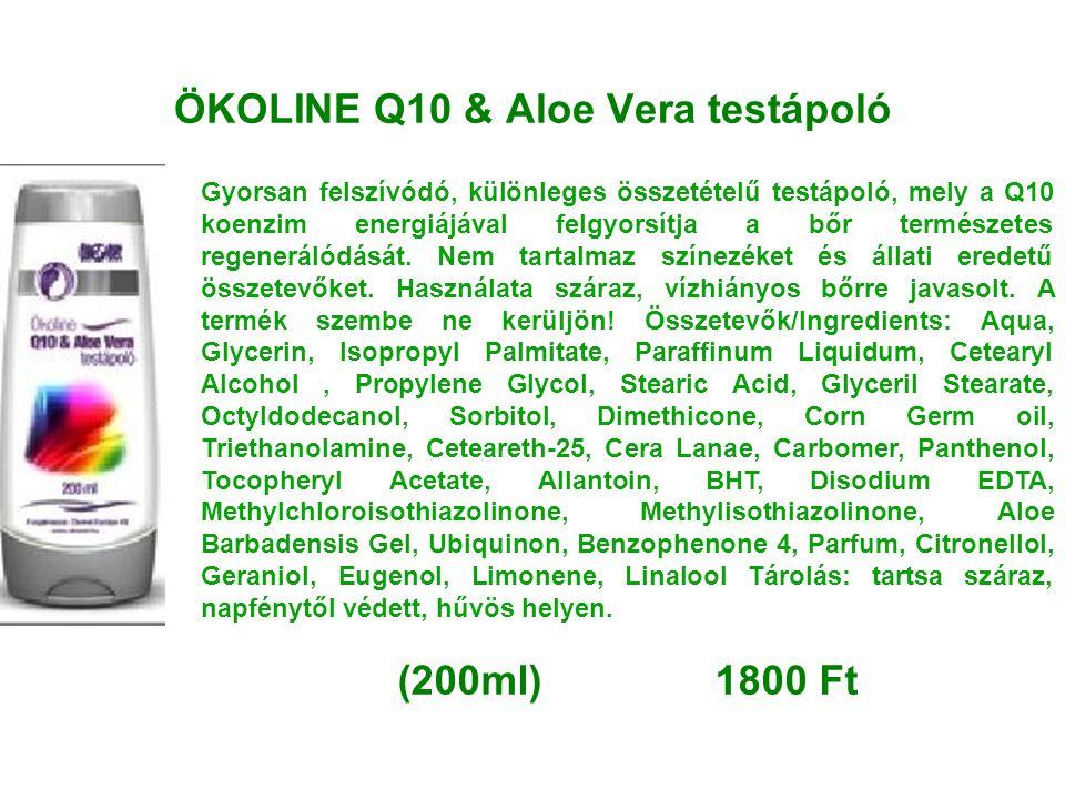 ÖKOLINE Q10 & Aloe Vera testápoló Gyorsan felszívódó, különleges összetételű testápoló, mely a Q10 koenzim energiájával felgyorsítja a bőr természetes