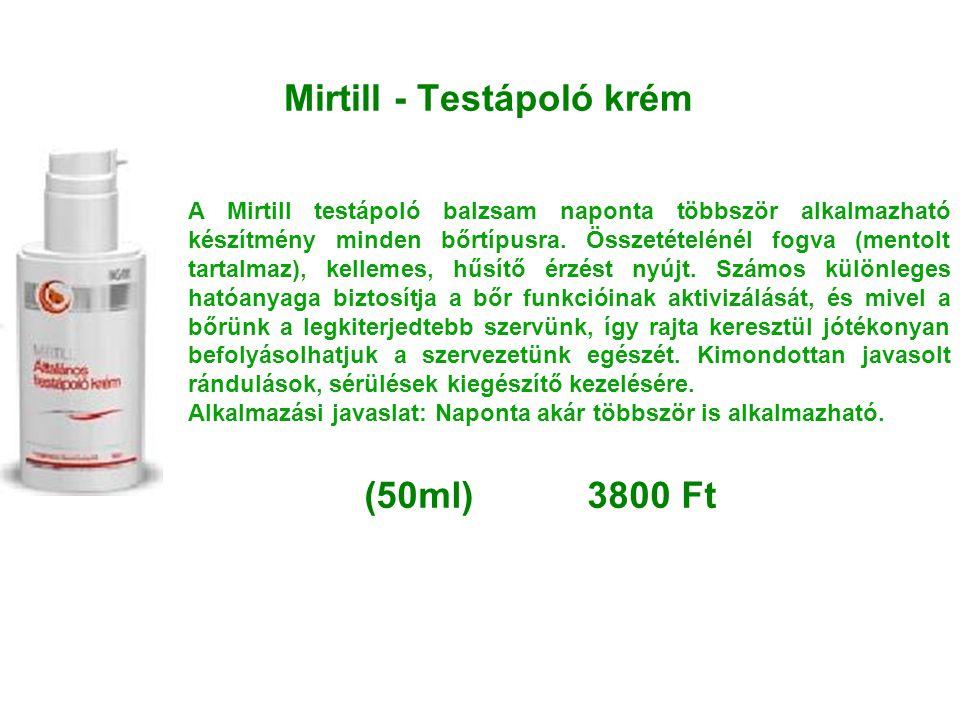 Mirtill - Testápoló krém A Mirtill testápoló balzsam naponta többször alkalmazható készítmény minden bőrtípusra. Összetételénél fogva (mentolt tartalm
