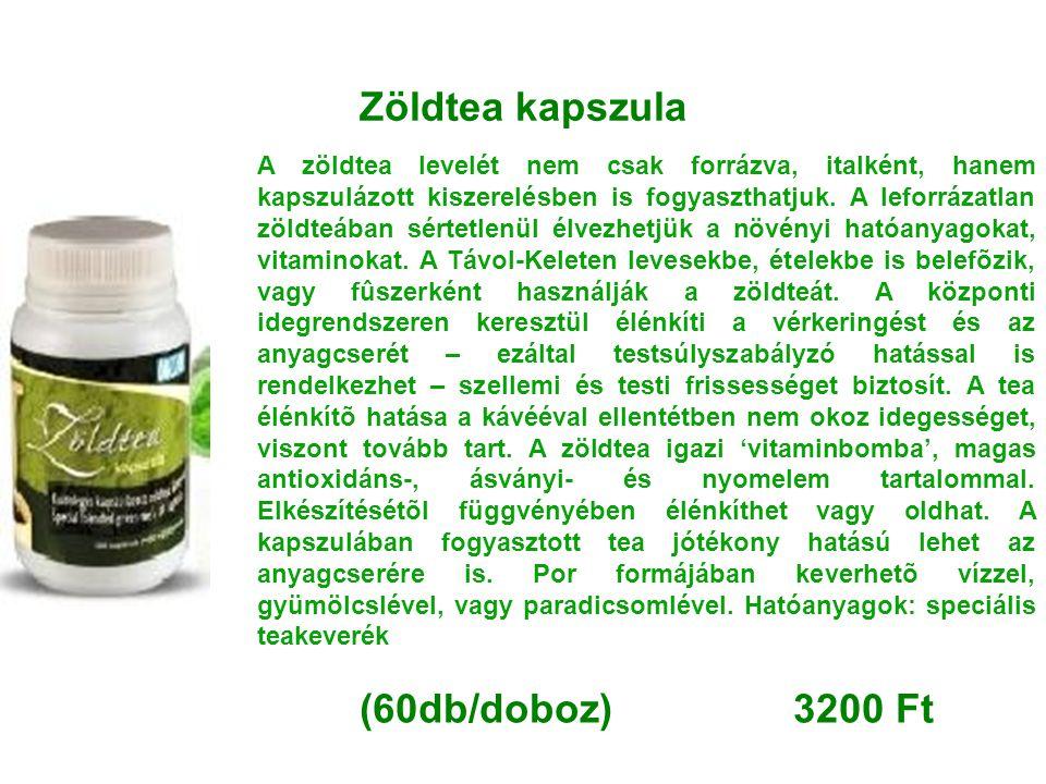 Zöldtea kapszula A zöldtea levelét nem csak forrázva, italként, hanem kapszulázott kiszerelésben is fogyaszthatjuk. A leforrázatlan zöldteában sértetl