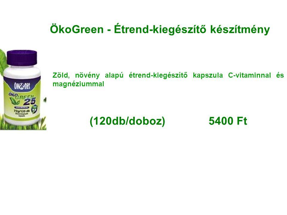 ÖkoGreen - Étrend-kiegészítő készítmény Zöld, növény alapú étrend-kiegészítő kapszula C-vitaminnal és magnéziummal (120db/doboz) 5400 Ft