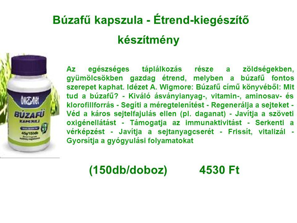 Búzafű kapszula - Étrend-kiegészítő készítmény Az egészséges táplálkozás része a zöldségekben, gyümölcsökben gazdag étrend, melyben a búzafű fontos sz