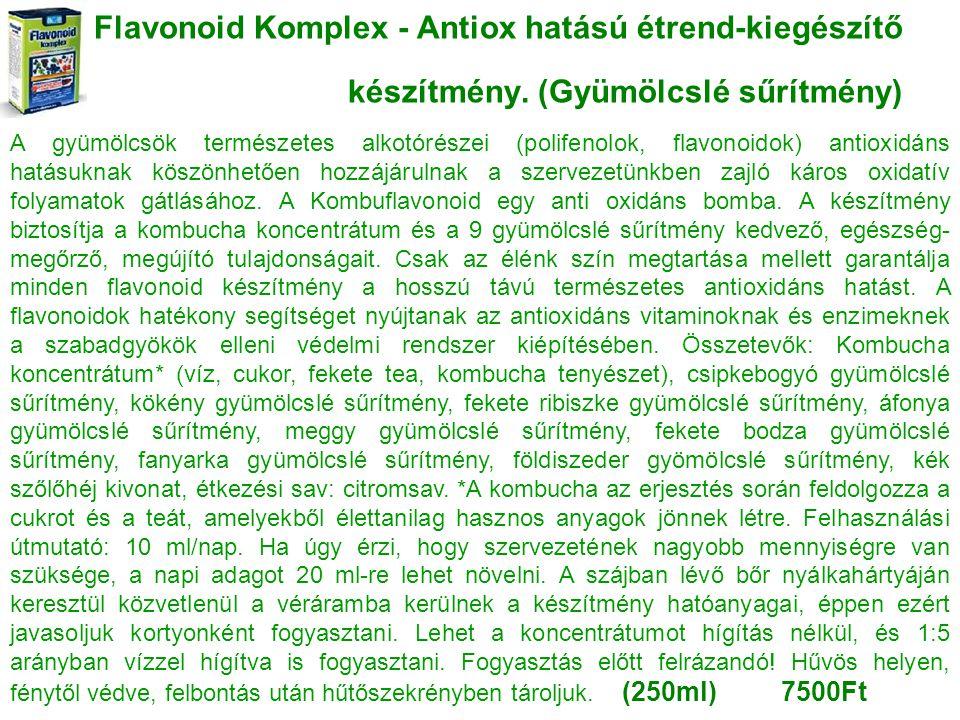 Flavonoid Komplex - Antiox hatású étrend-kiegészítő készítmény. (Gyümölcslé sűrítmény) A gyümölcsök természetes alkotórészei (polifenolok, flavonoidok