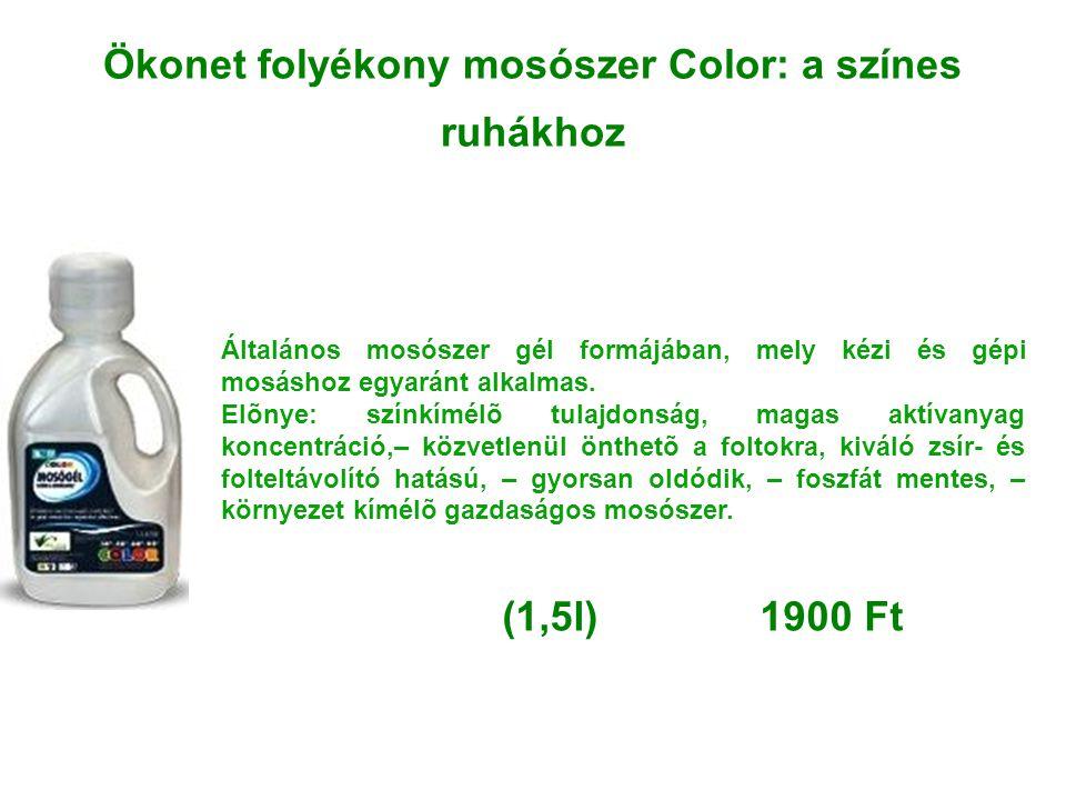 Ökonet folyékony mosószer Color: a színes ruhákhoz Általános mosószer gél formájában, mely kézi és gépi mosáshoz egyaránt alkalmas. Elõnye: színkímélõ