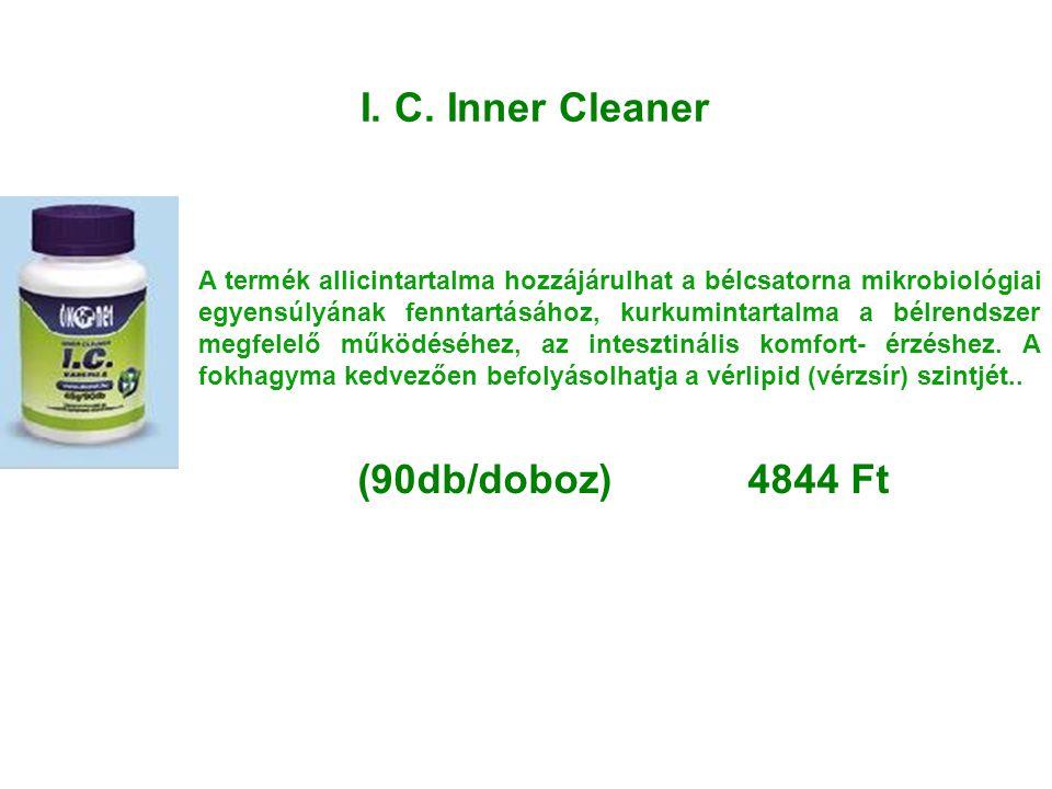 I. C. Inner Cleaner A termék allicintartalma hozzájárulhat a bélcsatorna mikrobiológiai egyensúlyának fenntartásához, kurkumintartalma a bélrendszer m
