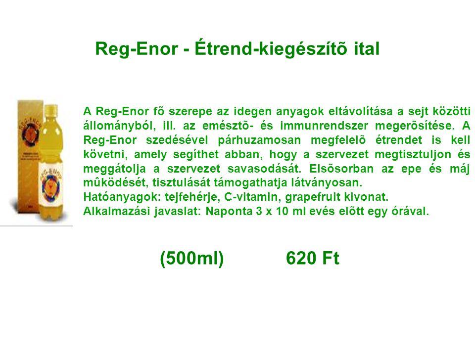 Reg-Enor - Étrend-kiegészítõ ital A Reg-Enor fõ szerepe az idegen anyagok eltávolítása a sejt közötti állományból, ill. az emésztõ- és immunrendszer m