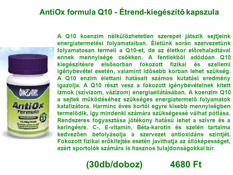 AntiOx formula Q10 - Étrend-kiegészítõ kapszula A Q10 koenzim nélkülözhetetlen szerepet játszik sejtjeink energiatermelési folyamataiban. Életünk sorá