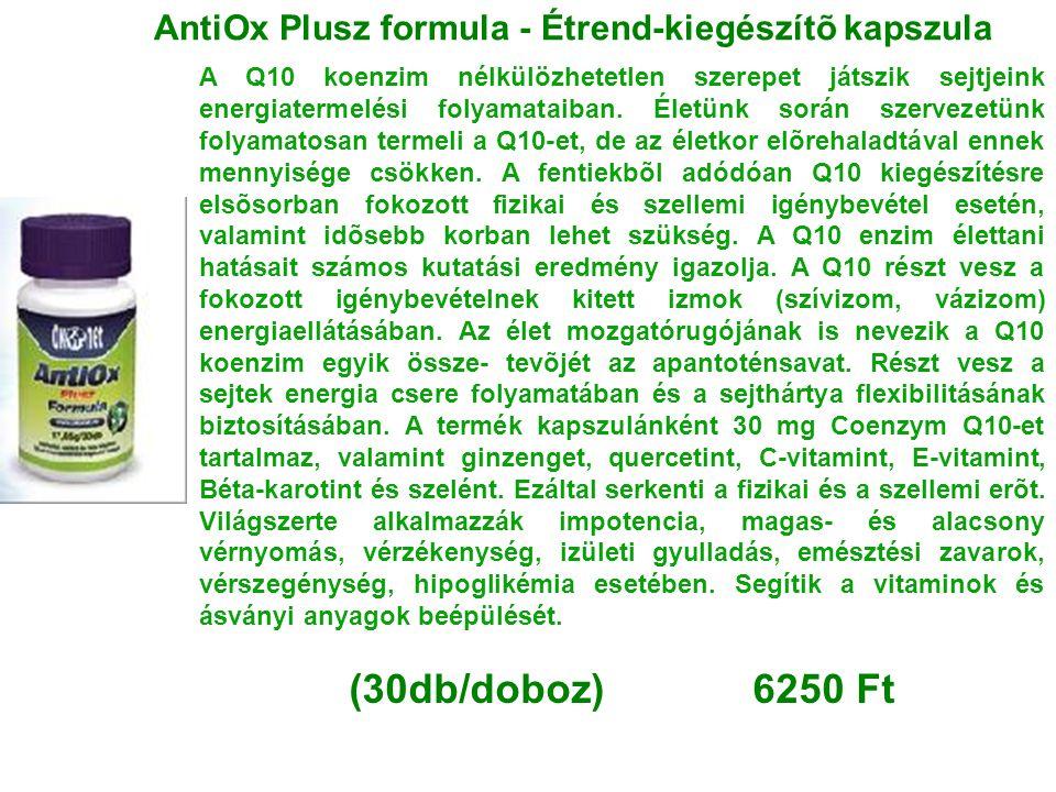 AntiOx Plusz formula - Étrend-kiegészítõ kapszula A Q10 koenzim nélkülözhetetlen szerepet játszik sejtjeink energiatermelési folyamataiban. Életünk so