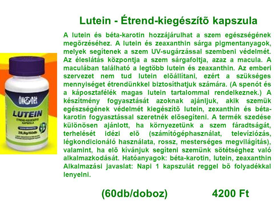 Lutein - Étrend-kiegészítõ kapszula A lutein és béta-karotin hozzájárulhat a szem egészségének megõrzéséhez. A lutein és zeaxanthin sárga pigmentanyag