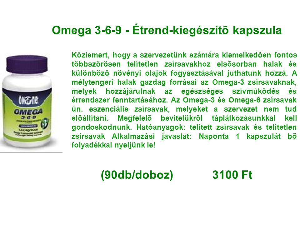 Omega 3-6-9 - Étrend-kiegészítõ kapszula Közismert, hogy a szervezetünk számára kiemelkedõen fontos többszörösen telítetlen zsírsavakhoz elsõsorban ha