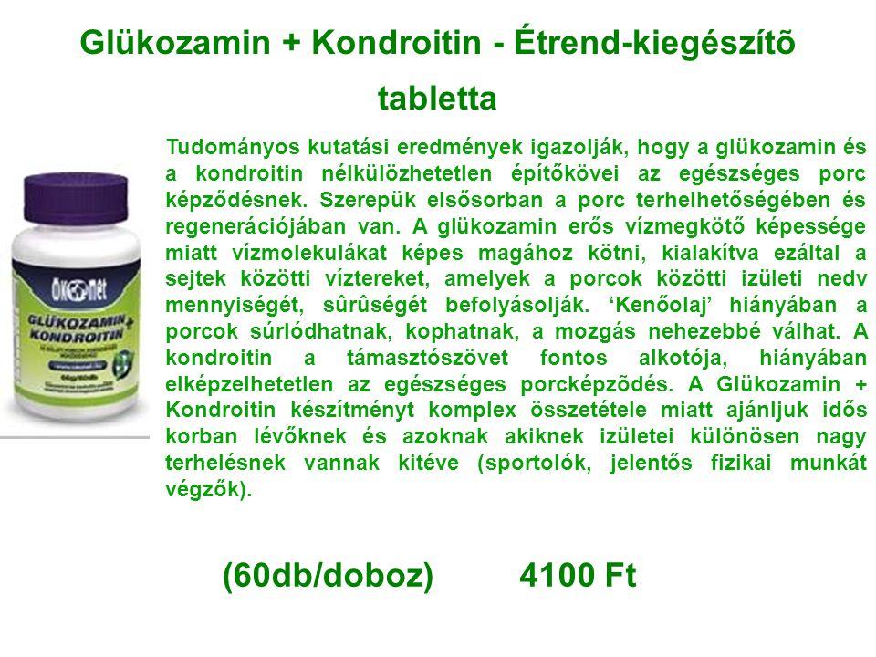 Glükozamin + Kondroitin - Étrend-kiegészítõ tabletta Tudományos kutatási eredmények igazolják, hogy a glükozamin és a kondroitin nélkülözhetetlen épít