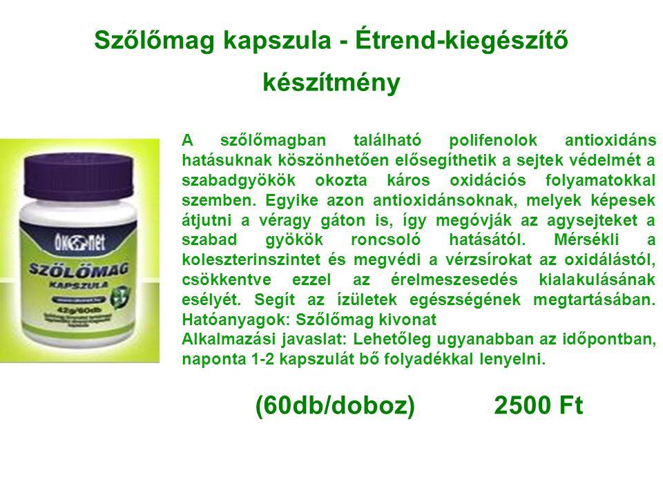 Szőlőmag kapszula - Étrend-kiegészítő készítmény A szőlőmagban található polifenolok antioxidáns hatásuknak köszönhetően elősegíthetik a sejtek védelm