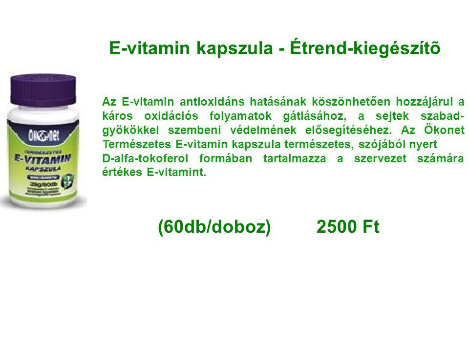 E-vitamin kapszula - Étrend-kiegészítõ Az E-vitamin antioxidáns hatásának köszönhetően hozzájárul a káros oxidációs folyamatok gátlásához, a sejtek sz