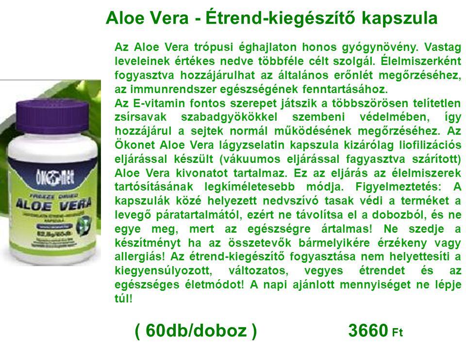 Aloe Vera - Étrend-kiegészítő kapszula Az Aloe Vera trópusi éghajlaton honos gyógynövény. Vastag leveleinek értékes nedve többféle célt szolgál. Élelm