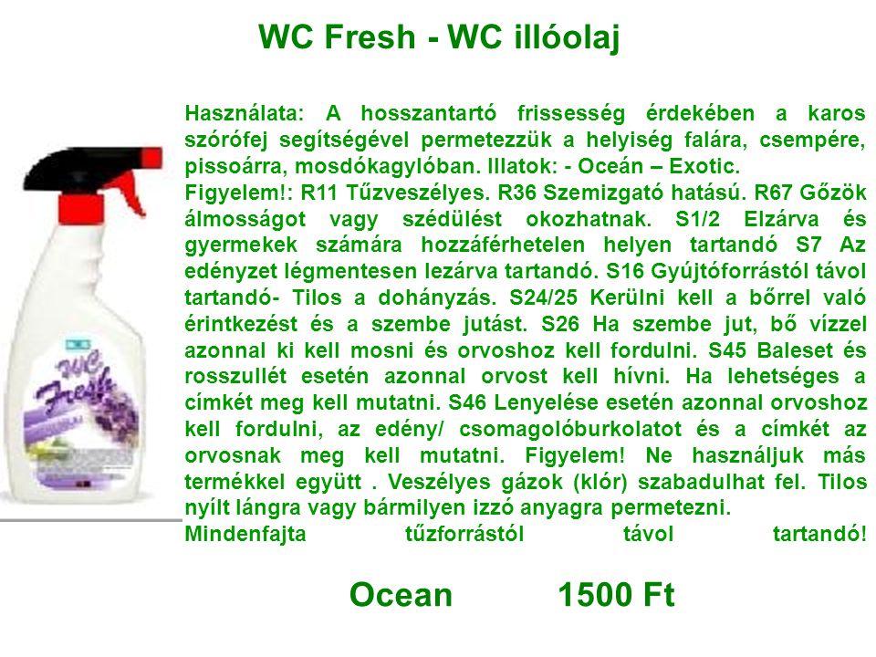 WC Fresh - WC illóolaj Használata: A hosszantartó frissesség érdekében a karos szórófej segítségével permetezzük a helyiség falára, csempére, pissoárr