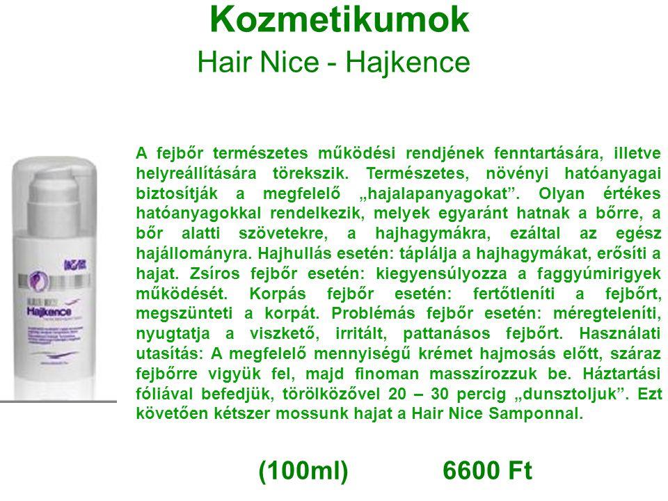 Kozmetikumok Hair Nice - Hajkence A fejbőr természetes működési rendjének fenntartására, illetve helyreállítására törekszik. Természetes, növényi ható