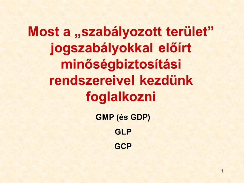 """1 Most a """"szabályozott terület"""" jogszabályokkal előírt minőségbiztosítási rendszereivel kezdünk foglalkozni G MP (és GDP) GLP GCP"""