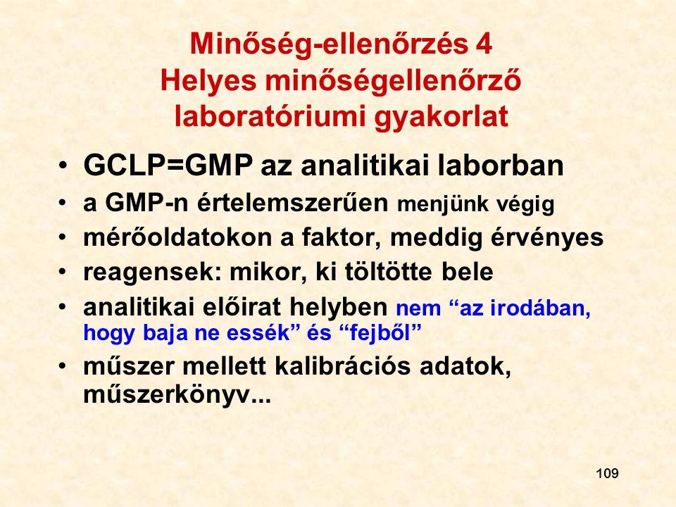 109 Minőség-ellenőrzés 4 Helyes minőségellenőrző laboratóriumi gyakorlat •GCLP=GMP az analitikai laborban •a GMP-n értelemszerűen menjünk végig •mérőo