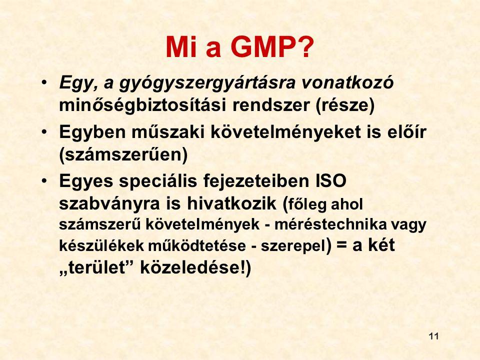 11 Mi a GMP? •Egy, a gyógyszergyártásra vonatkozó minőségbiztosítási rendszer (része) •Egyben műszaki követelményeket is előír (számszerűen) •Egyes sp