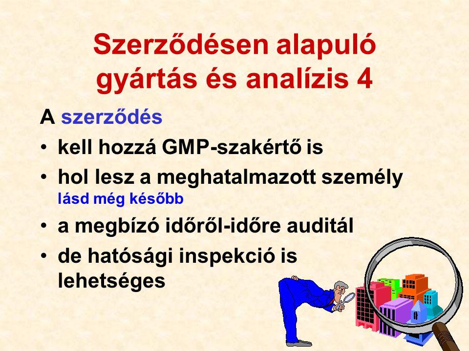 116 Szerződésen alapuló gyártás és analízis 4 A szerződés •kell hozzá GMP-szakértő is •hol lesz a meghatalmazott személy lásd még később •a megbízó id