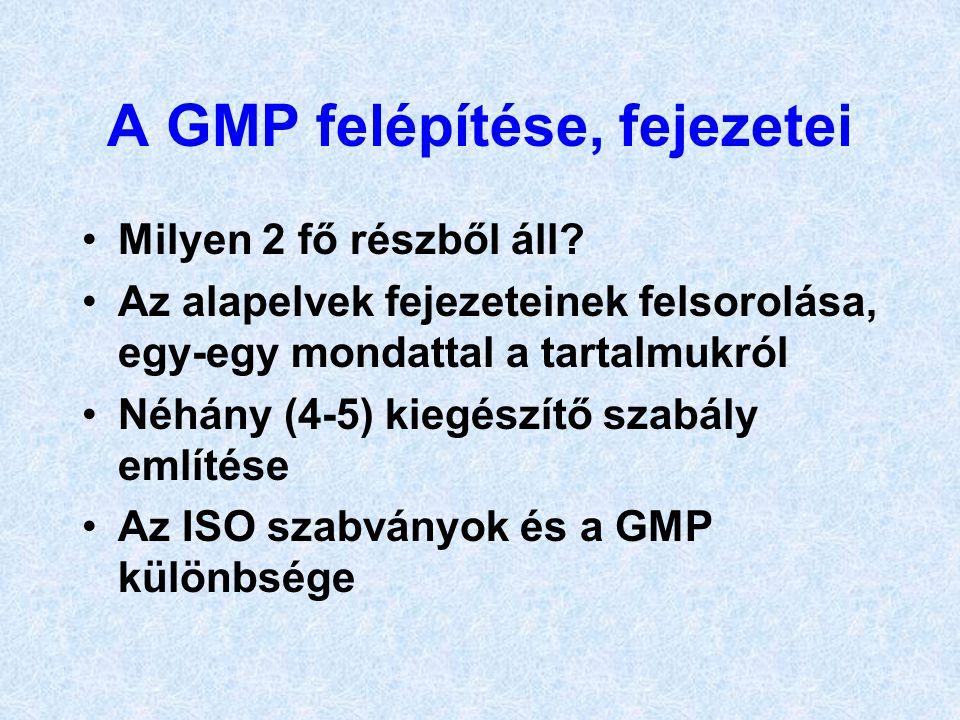 A GMP felépítése, fejezetei •Milyen 2 fő részből áll? •Az alapelvek fejezeteinek felsorolása, egy-egy mondattal a tartalmukról •Néhány (4-5) kiegészít