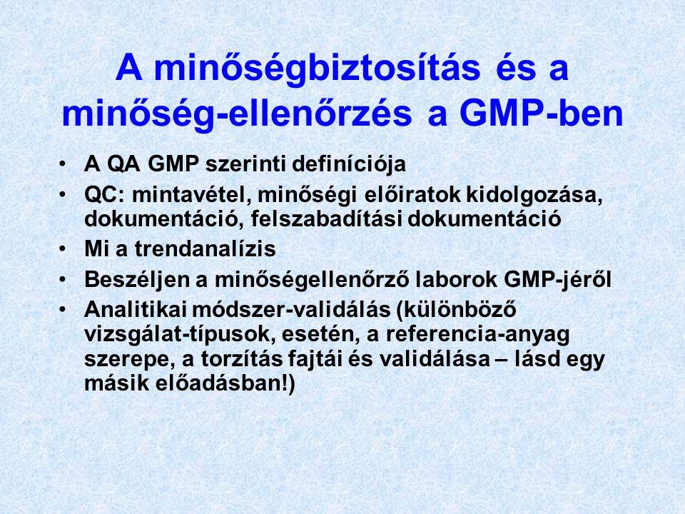 A minőségbiztosítás és a minőség-ellenőrzés a GMP-ben •A QA GMP szerinti definíciója •QC: mintavétel, minőségi előiratok kidolgozása, dokumentáció, fe