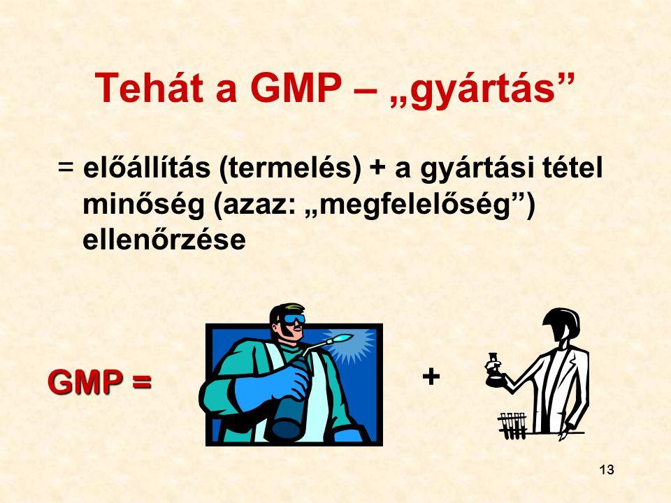 """13 Tehát a GMP – """"gyártás"""" = előállítás (termelés) + a gyártási tétel minőség (azaz: """"megfelelőség"""") ellenőrzése GMP = +"""