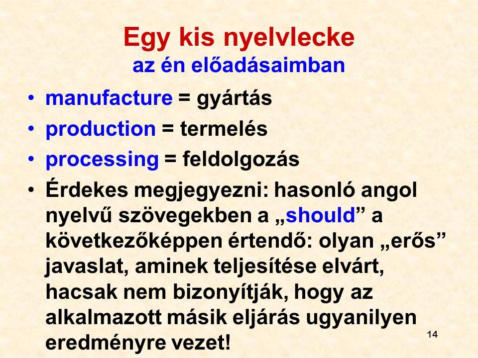 14 Egy kis nyelvlecke az én előadásaimban •manufacture = gyártás •production = termelés •processing = feldolgozás •Érdekes megjegyezni: hasonló angol