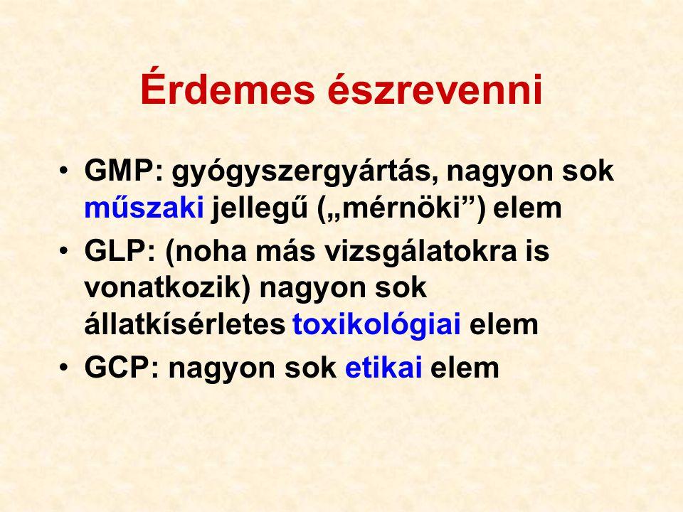 """Érdemes észrevenni •GMP: gyógyszergyártás, nagyon sok műszaki jellegű (""""mérnöki"""") elem •GLP: (noha más vizsgálatokra is vonatkozik) nagyon sok állatkí"""