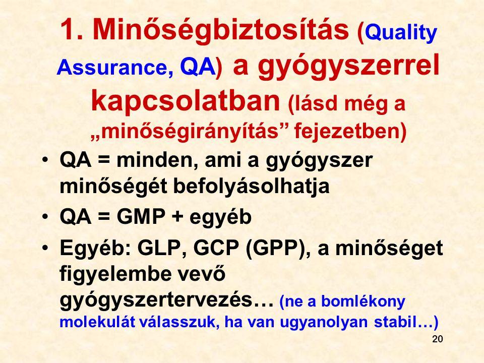 """20 1. Minőségbiztosítás ( Quality Assurance, QA) a gyógyszerrel kapcsolatban (lásd még a """"minőségirányítás"""" fejezetben) •QA = minden, ami a gyógyszer"""