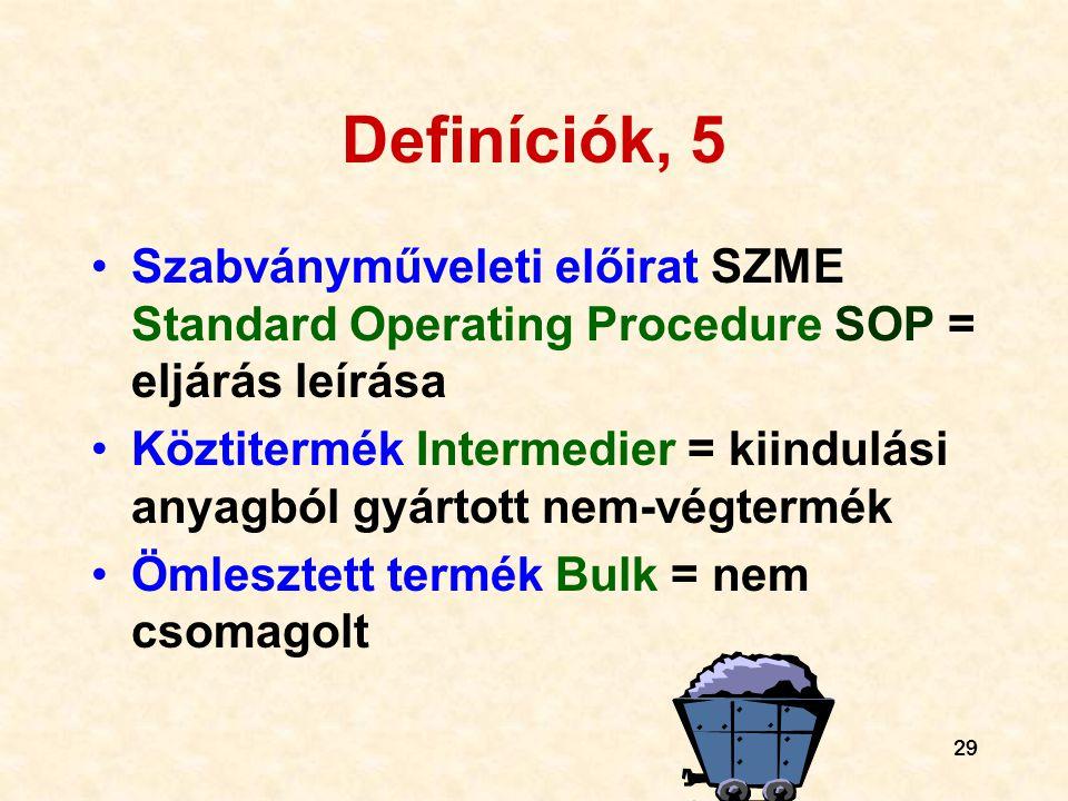 29 Definíciók, 5 •Szabványműveleti előirat SZME Standard Operating Procedure SOP = eljárás leírása •Köztitermék Intermedier = kiindulási anyagból gyár