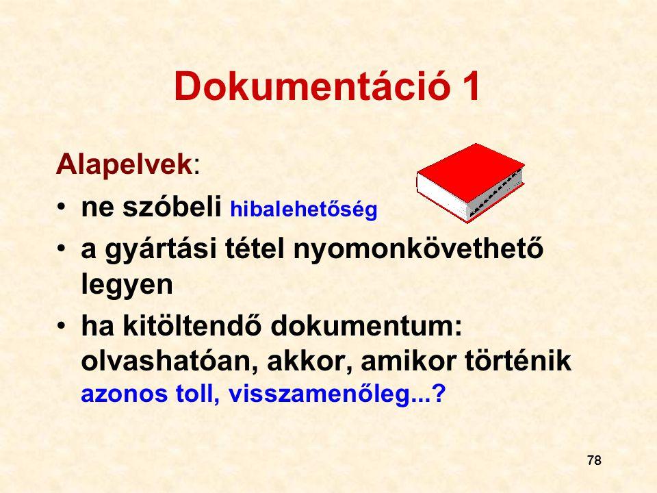 78 Dokumentáció 1 Alapelvek: •ne szóbeli hibalehetőség •a gyártási tétel nyomonkövethető legyen •ha kitöltendő dokumentum: olvashatóan, akkor, amikor