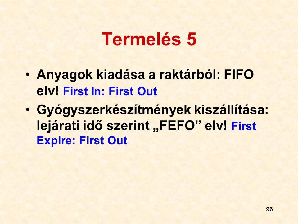 """96 Termelés 5 •Anyagok kiadása a raktárból: FIFO elv! First In: First Out •Gyógyszerkészítmények kiszállítása: lejárati idő szerint """"FEFO"""" elv! First"""