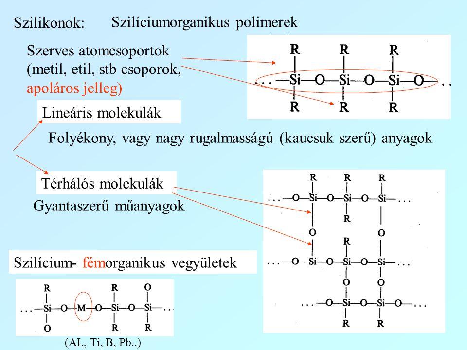 Szilikonok: Szilíciumorganikus polimerek Szerves atomcsoportok (metil, etil, stb csoporok, apoláros jelleg) Lineáris molekulák Térhálós molekulák Foly