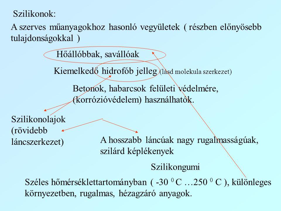Szilikonok: A szerves műanyagokhoz hasonló vegyületek ( részben előnyösebb tulajdonságokkal ) Hőállóbbak, savállóak Kiemelkedő hidrofób jelleg (lásd m