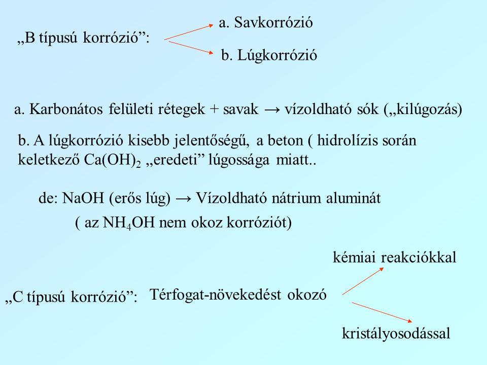 """""""B típusú korrózió"""": a. Savkorrózió b. Lúgkorrózió a. Karbonátos felületi rétegek + savak → vízoldható sók (""""kilúgozás) b. A lúgkorrózió kisebb jelent"""