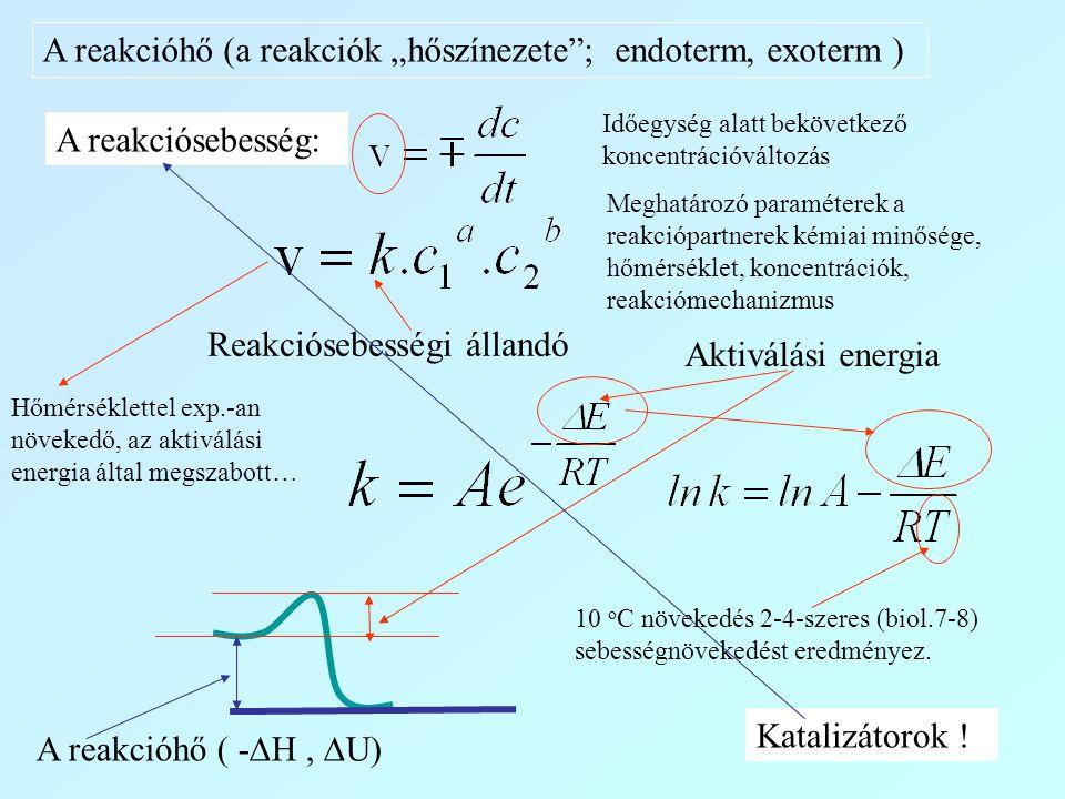 """A reakcióhő (a reakciók """"hőszínezete""""; endoterm, exoterm ) A reakciósebesség: Reakciósebességi állandó Aktiválási energia A reakcióhő ( -  H,  U) Ka"""