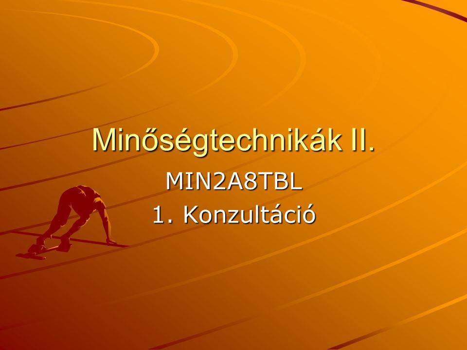 Minőségtechnikák II. MIN2A8TBL 1. Konzultáció