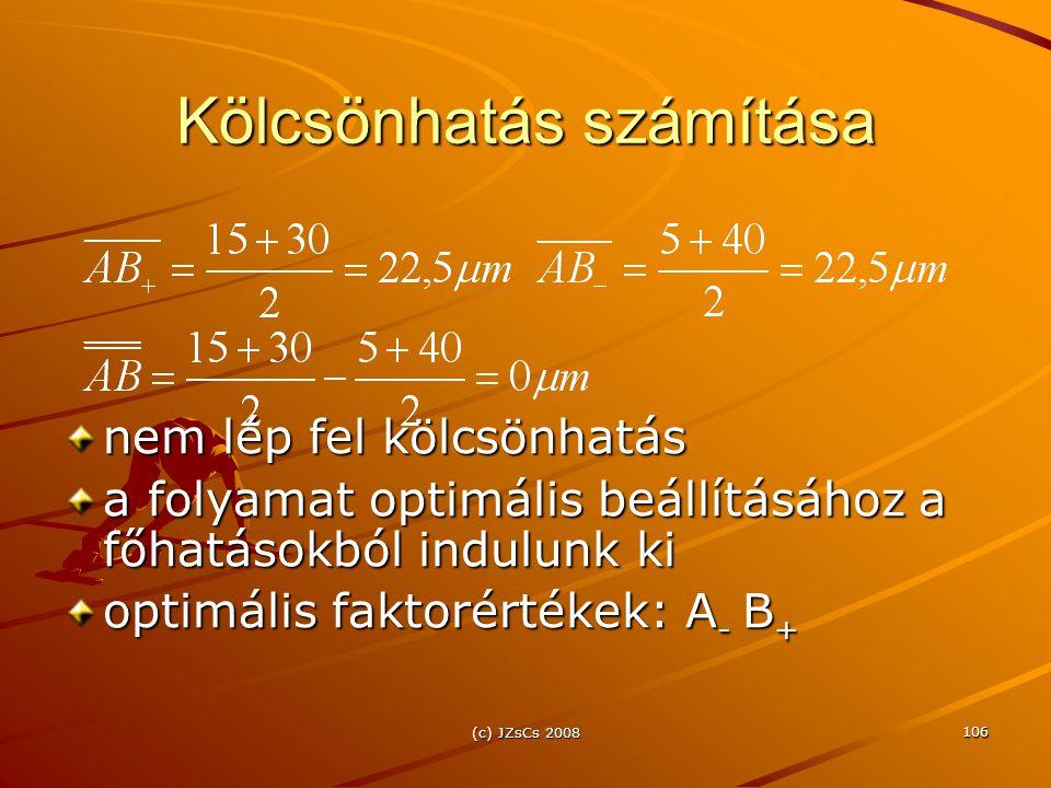 (c) JZsCs 2008 106 Kölcsönhatás számítása nem lép fel kölcsönhatás a folyamat optimális beállításához a főhatásokból indulunk ki optimális faktorértékek: A - B +