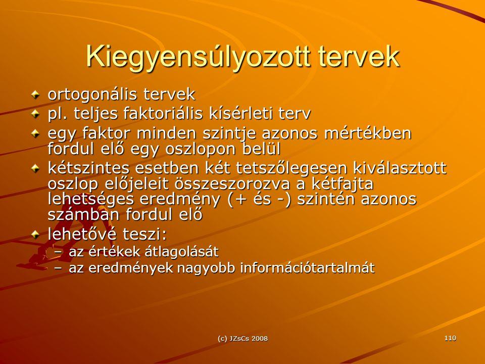 (c) JZsCs 2008 110 Kiegyensúlyozott tervek ortogonális tervek pl.