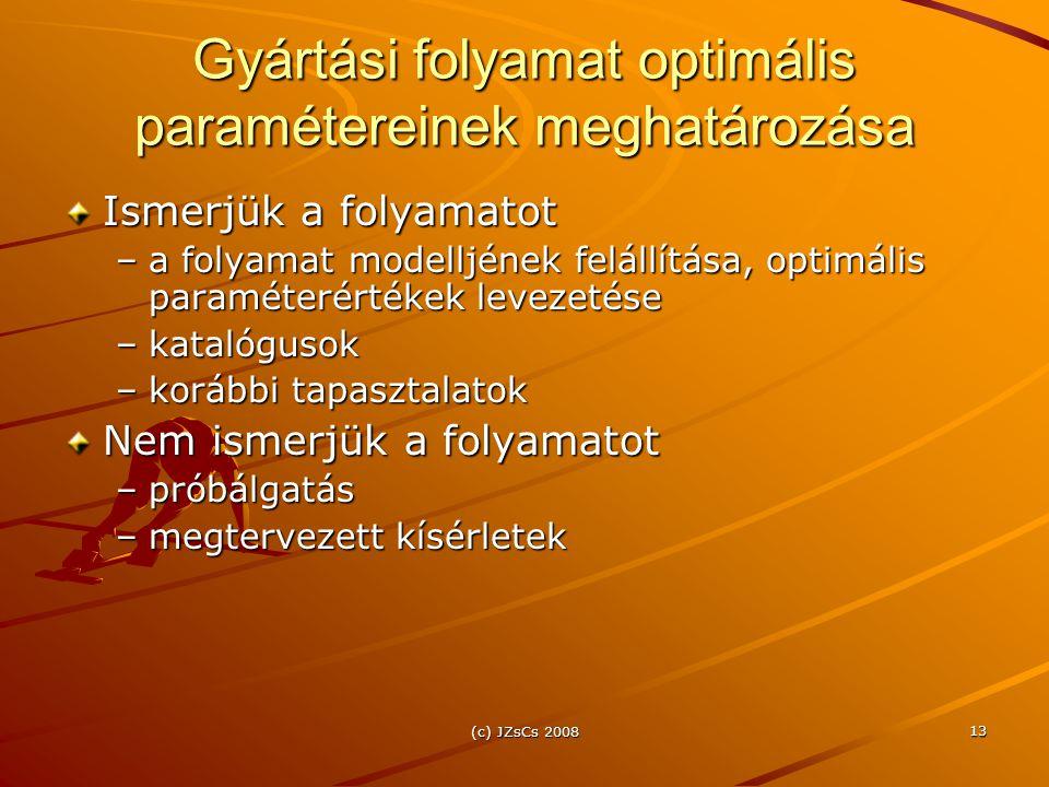 (c) JZsCs 2008 13 Gyártási folyamat optimális paramétereinek meghatározása Ismerjük a folyamatot –a folyamat modelljének felállítása, optimális paraméterértékek levezetése –katalógusok –korábbi tapasztalatok Nem ismerjük a folyamatot –próbálgatás –megtervezett kísérletek