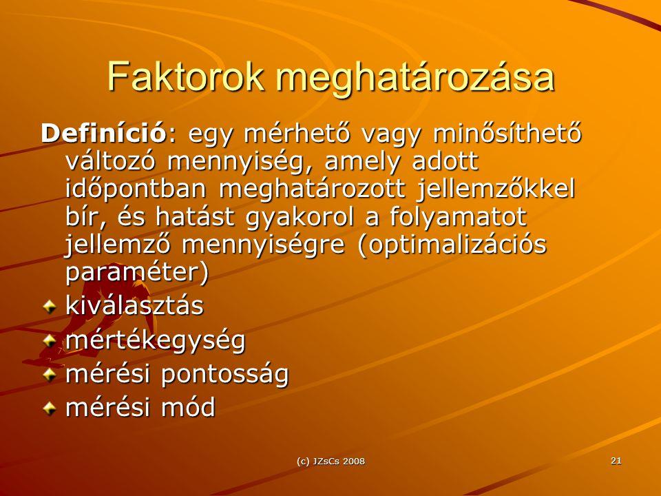 (c) JZsCs 2008 21 Faktorok meghatározása Definíció: egy mérhető vagy minősíthető változó mennyiség, amely adott időpontban meghatározott jellemzőkkel