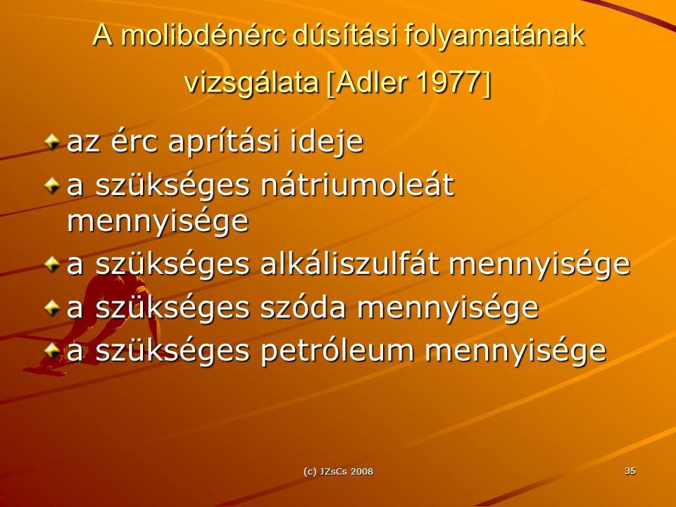 (c) JZsCs 2008 35 A molibdénérc dúsítási folyamatának vizsgálata  Adler 1977  az érc aprítási ideje a szükséges nátriumoleát mennyisége a szükséges alkáliszulfát mennyisége a szükséges szóda mennyisége a szükséges petróleum mennyisége